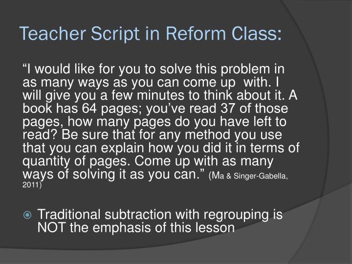 Teacher Script in Reform Class: