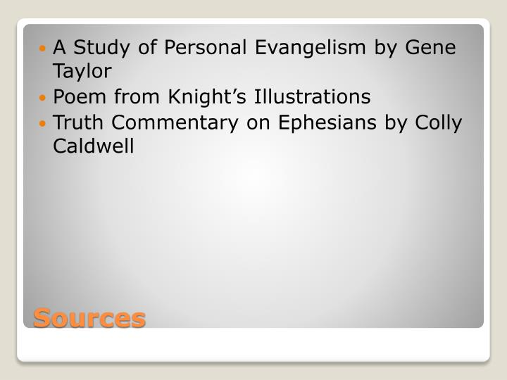A Study of Personal Evangelism by Gene Taylor
