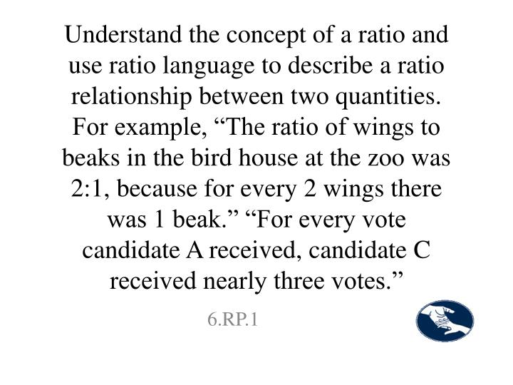 "Understand the concept of a ratio and use ratio language to describe a ratio relationship between two quantities. For example, ""The ratio of wings to beaks in the bird house at the zoo was 2:1, because for every 2 wings there was 1 beak."" ""For every vote candidate A received, candidate C received nearly three votes."""