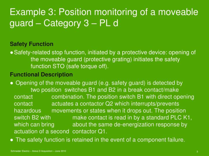 Example 3 position monitoring of a moveable guard category 3 pl d1