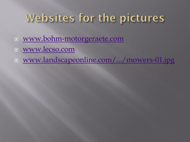 Websites for the pictures