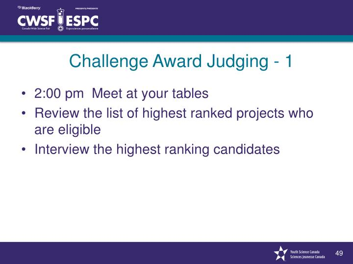 Challenge Award Judging - 1
