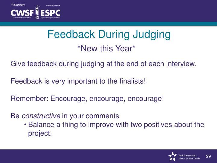 Feedback During Judging
