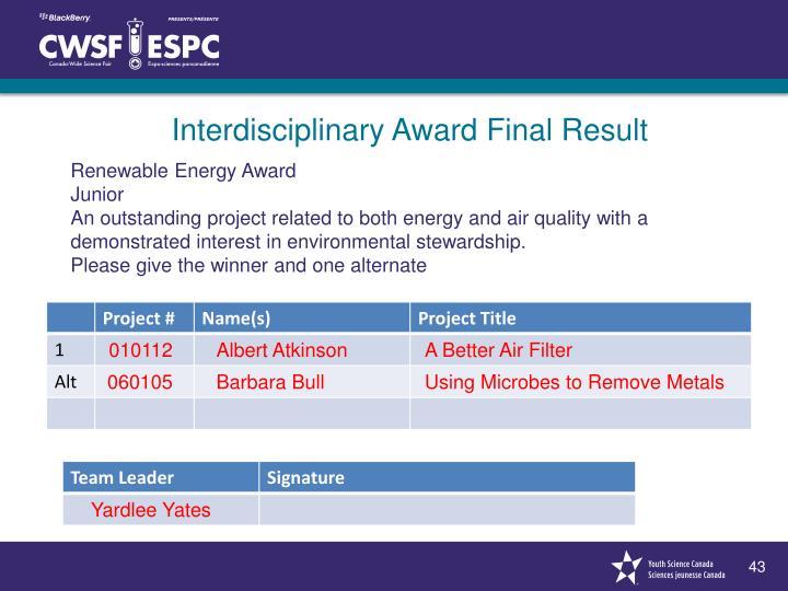 Renewable Energy Award