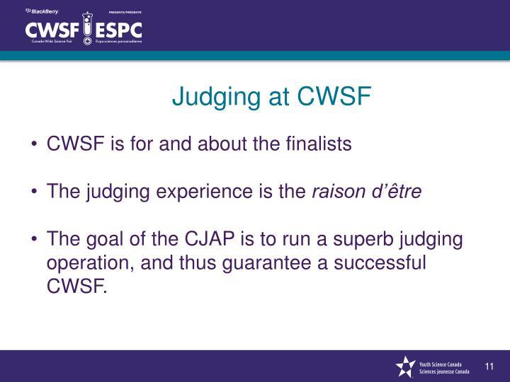 Judging at CWSF