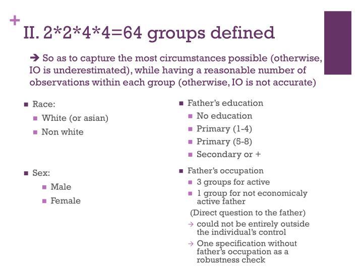 II. 2*2*4*4=64 groups