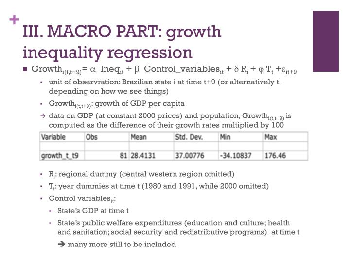 III. MACRO PART: growth inequality regression