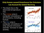 only human caused greenhouse gas emissions can account for global warming