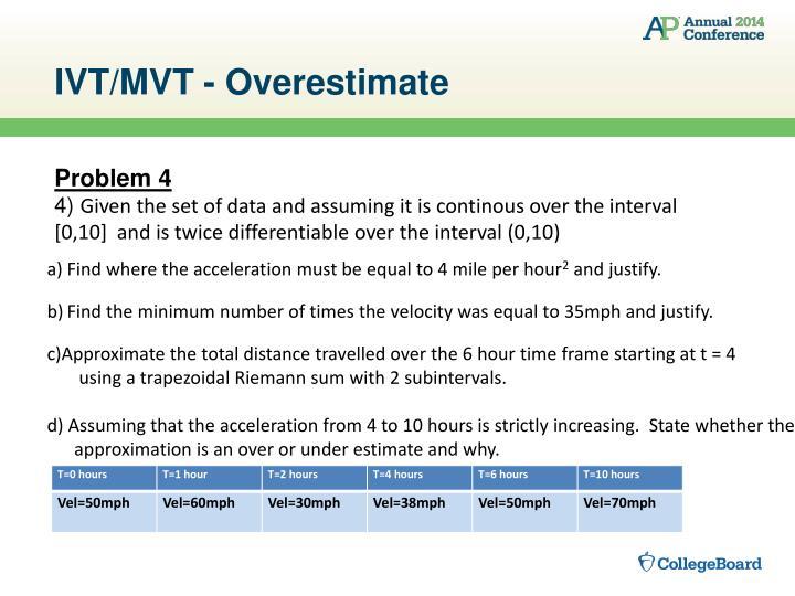 IVT/MVT - Overestimate