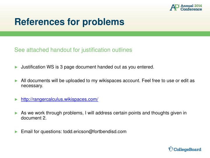 References for problems