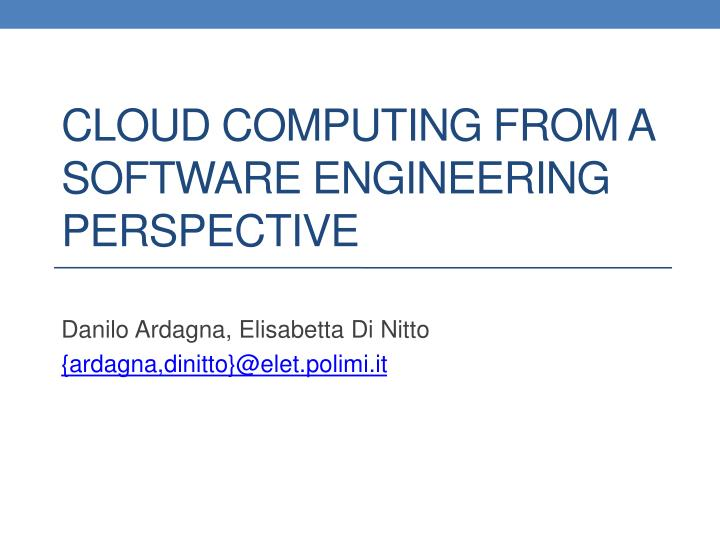 cloud computing from a software engineering perspective