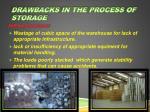 drawbacks in the process of storage
