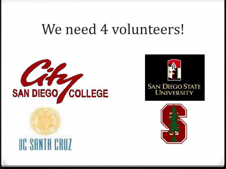 We need 4 volunteers!