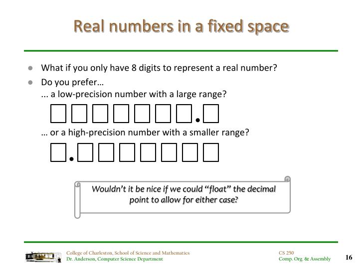Real numbers in a fixed space