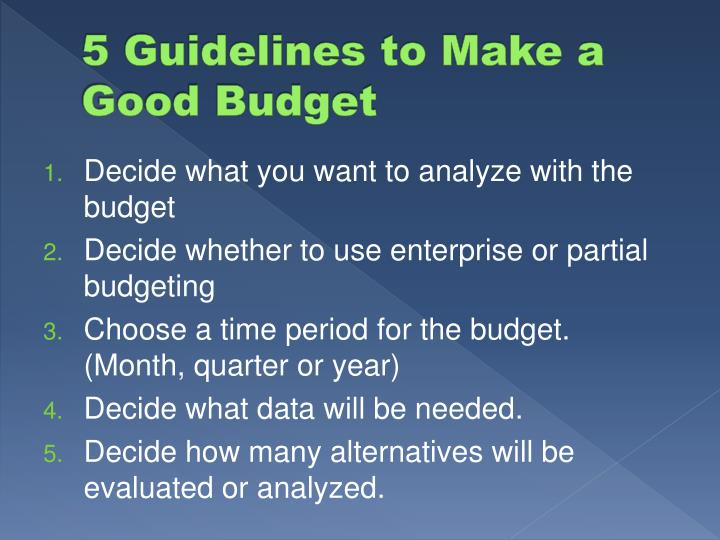 5 Guidelines to Make a Good Budget