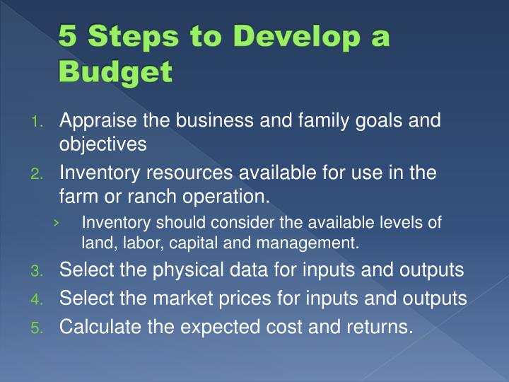 5 Steps to Develop a Budget
