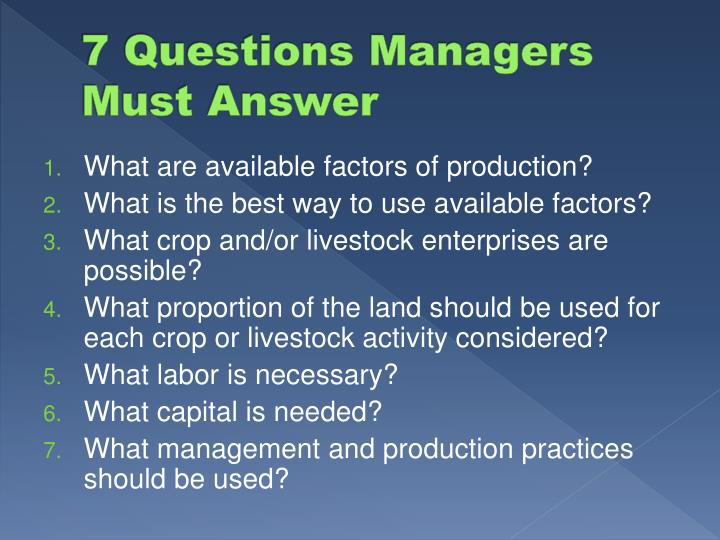 7 Questions Managers Must Answer