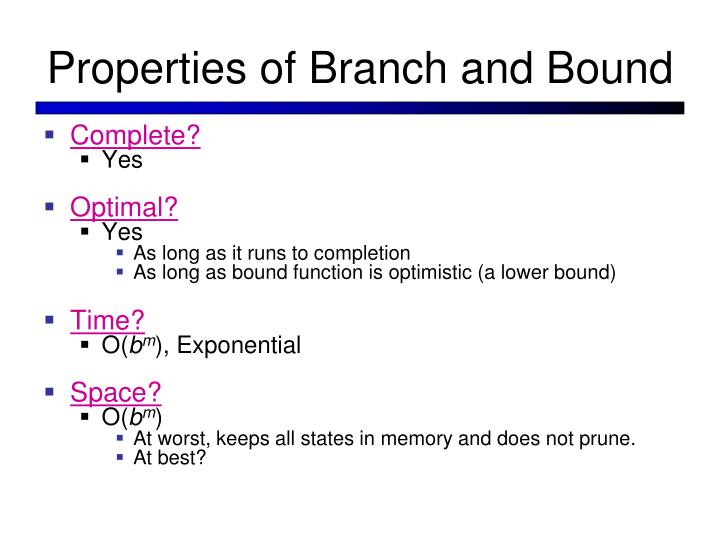 Properties of Branch and Bound