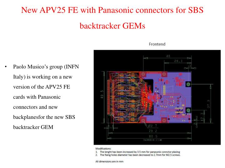 New APV25 FE with Panasonic connectors for SBS backtracker GEMs