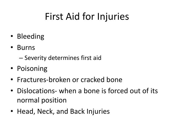 First Aid for Injuries