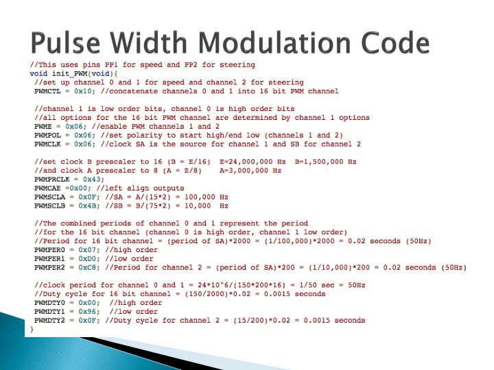 Pulse Width Modulation Code