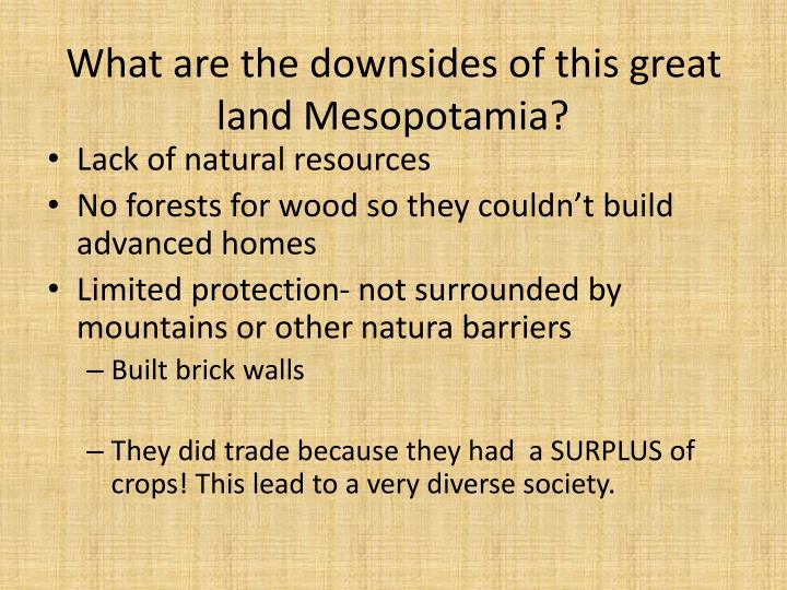 What are the downsides of this great land Mesopotamia?