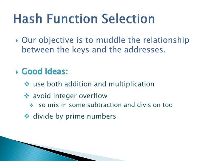 Hash Function Selection