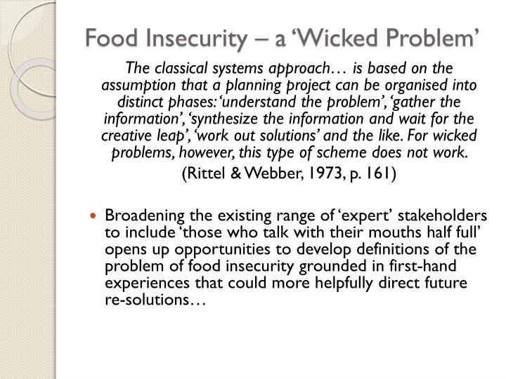 Food Insecurity – a 'Wicked Problem'