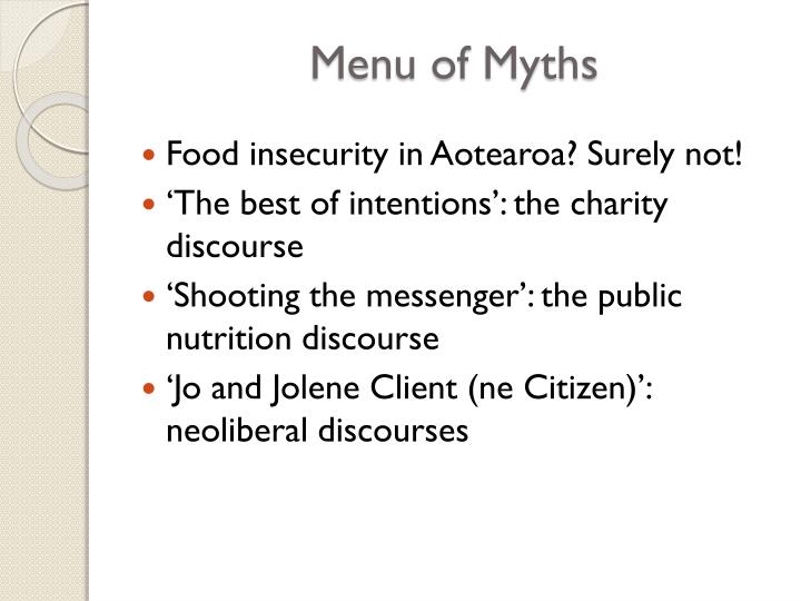 Menu of myths