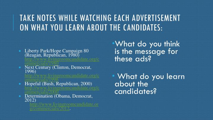 Livingroomcandidate Org Commercials 2012 Ppt Candidates And Elections Powerpoint Presentation