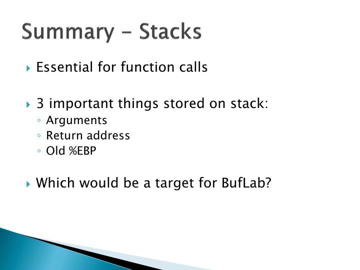 Summary - Stacks
