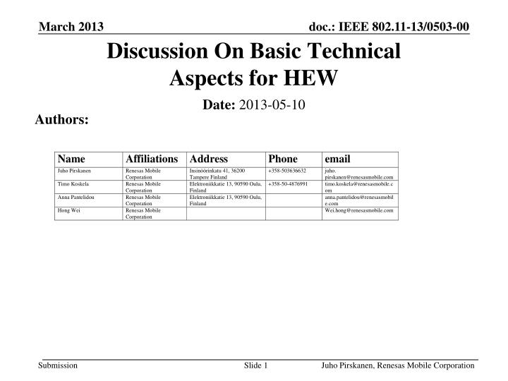 Discussion on basic technical aspects for hew