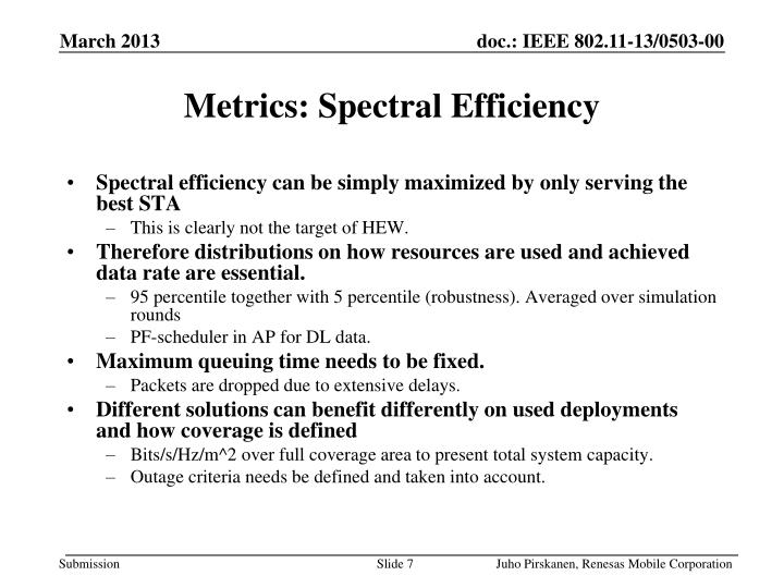 Metrics: Spectral Efficiency