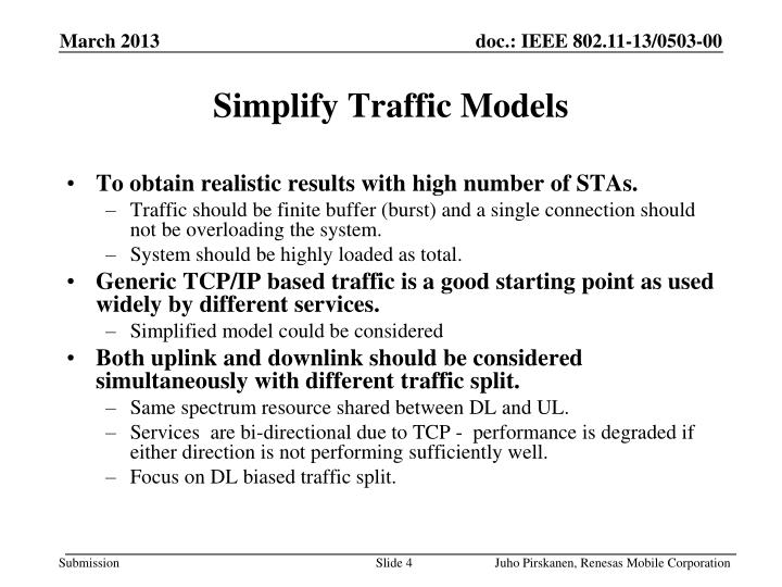 Simplify Traffic Models