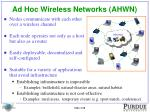 ad hoc wireless networks ahwn