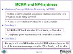 mcrm and np hardness