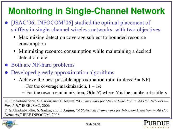 Monitoring in Single-Channel Network