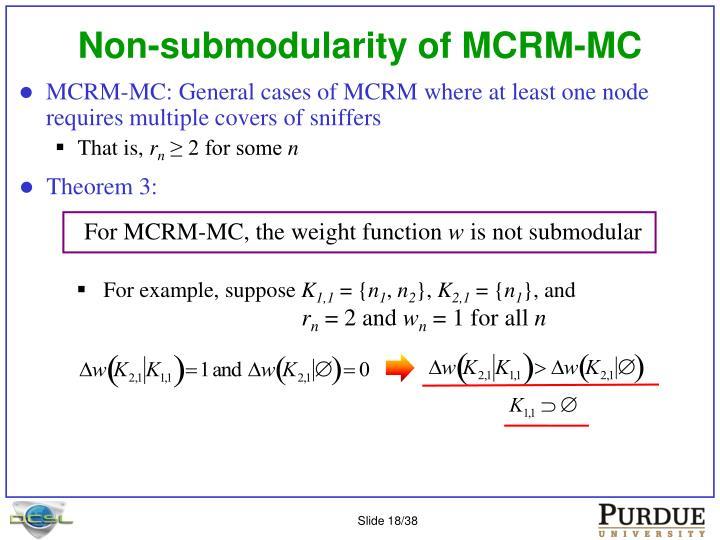 Non-submodularity of MCRM-MC