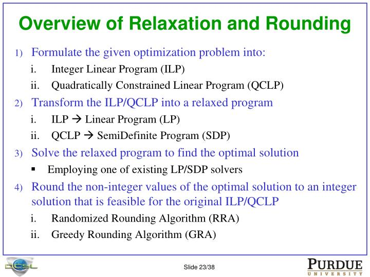 Overview of Relaxation and Rounding