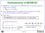 submodularity of mcrm sc