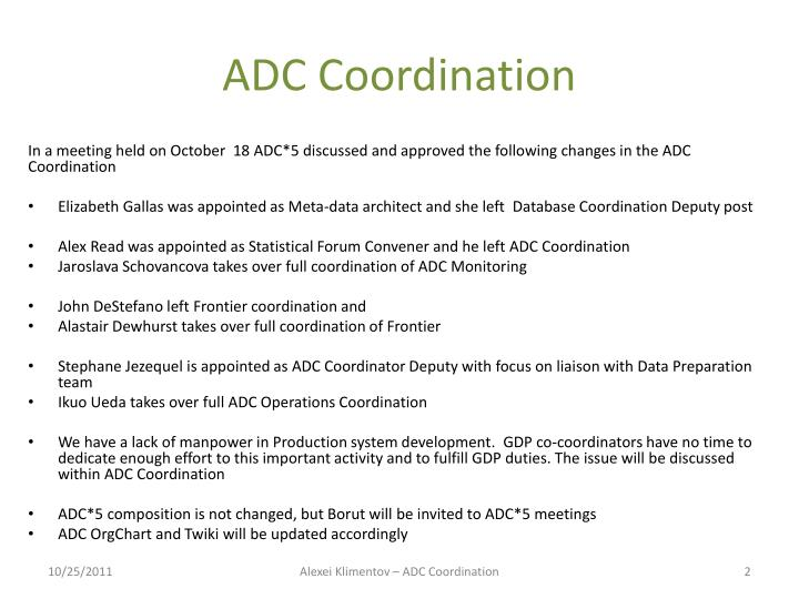 ADC Coordination