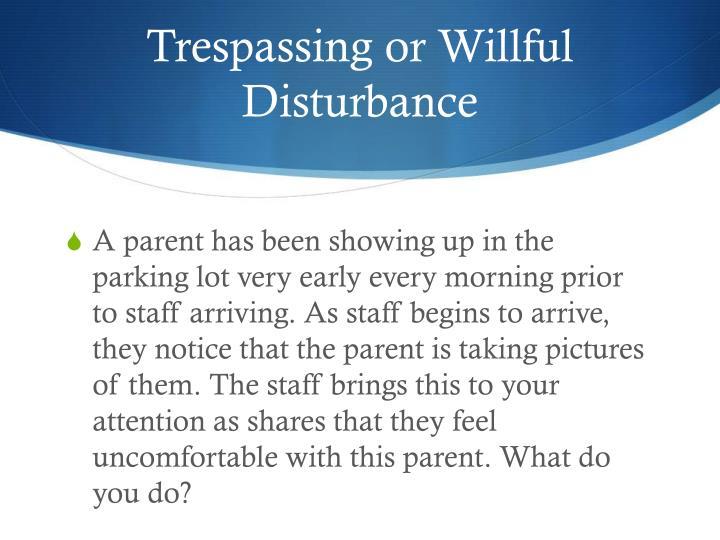Trespassing or Willful Disturbance