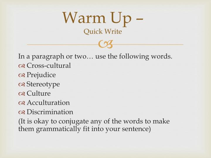 warm up quick write