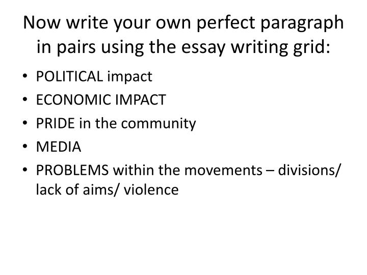 Now write your own perfect paragraph in pairs using the essay writing grid: