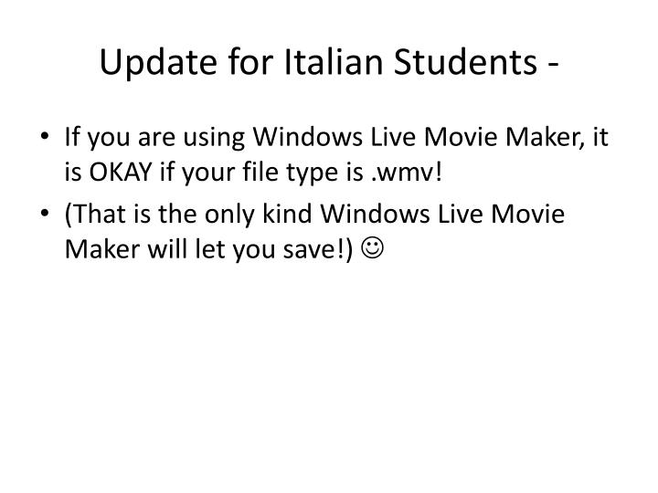 Update for Italian Students -