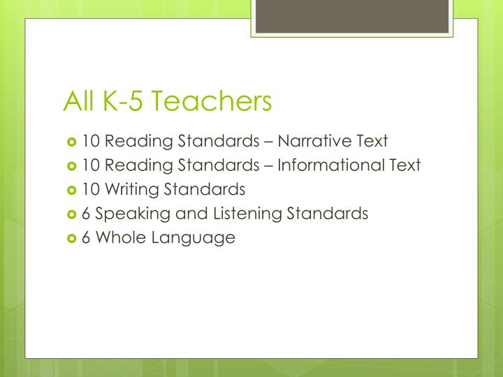 All K-5 Teachers