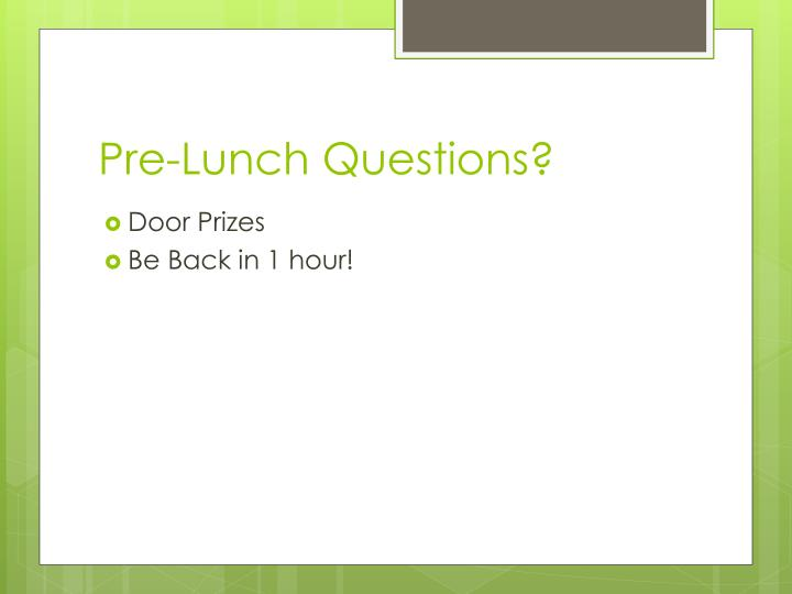 Pre-Lunch Questions?