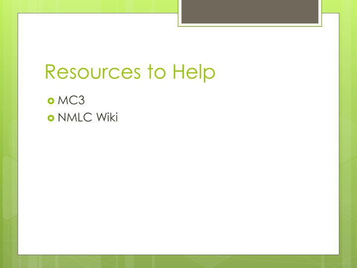 Resources to Help