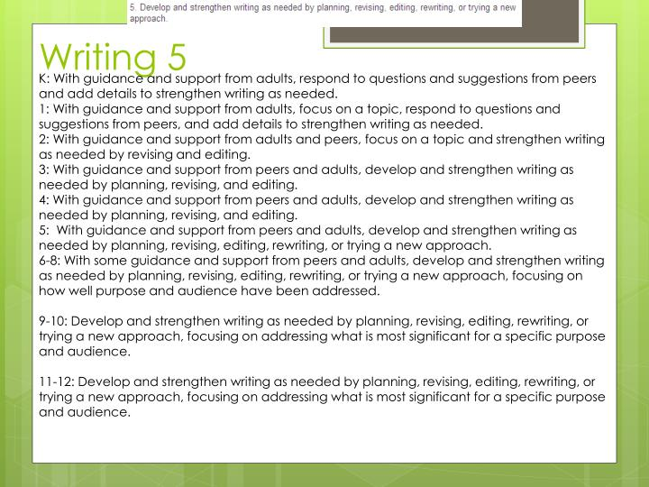 K: With guidance and support from adults, respond to questions and suggestions from peers and add details to strengthen writing as needed.