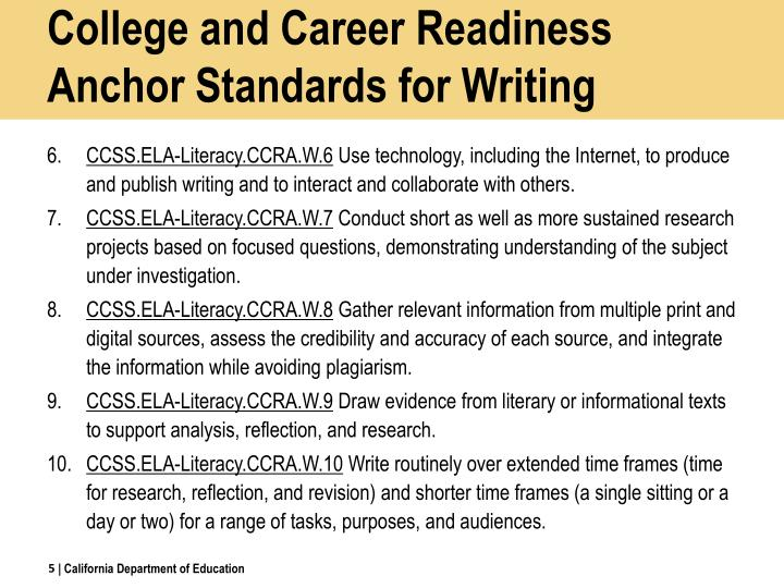 College and Career Readiness Anchor Standards for Writing